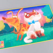 Гумен пъзел Коте и куче - 12 елемента