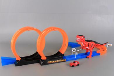 Писта с лупинг, кола и динозавър