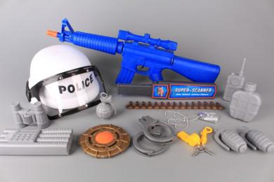 Полицейски комплект с каска и автомат