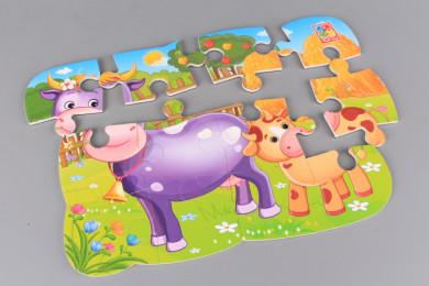 Магнитен пъзел Крава и теленце - 12 елемента