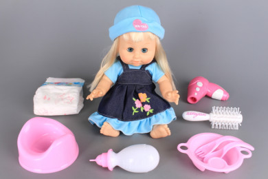 Кукла пишкаща с памперс и гърне