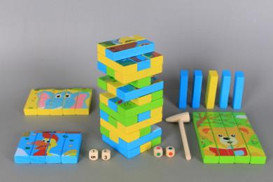 Дървен мултифункционален пъзел-дженга