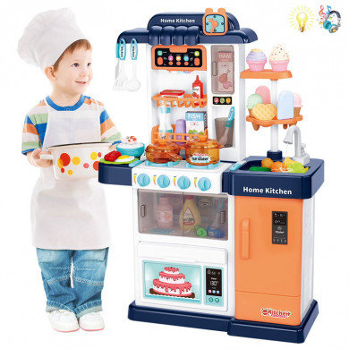 Кухня с пара, течаща вода и продукти сменящи цвета си