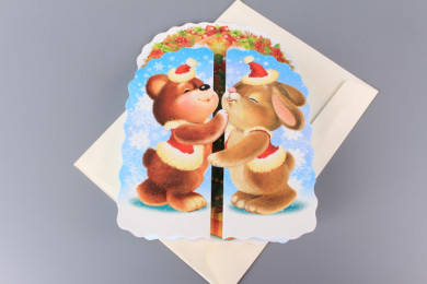 Картичка Мече и Зайче - разгъваща се