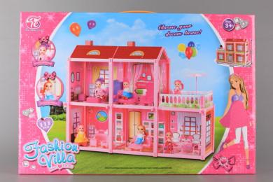 Двуетажна къща с кукла и обзавеждане