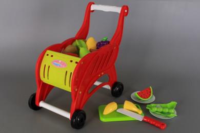 Количка за пазаруване и плодове и зеленчуци за рязане