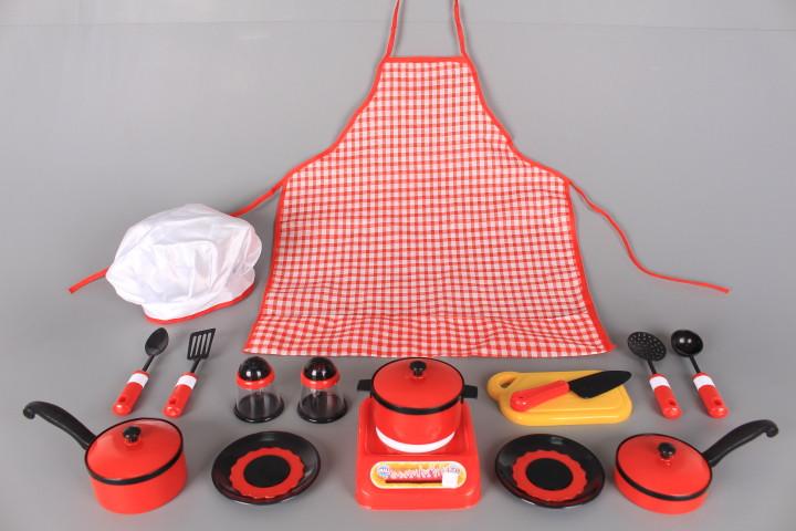 Готварски комплект с престилка, шапка и прибори за готвене
