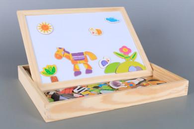 Дървена дъска/ кутия с магнитен пъзел Магаренце