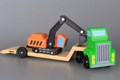 Дървени камион и багер екскаватор