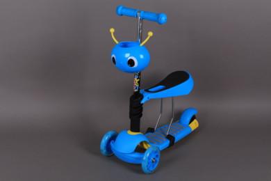 Тротинетка със седалка, кош за багаж и светещи гуми-3 в 1
