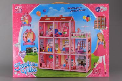 Триетажна къща с кукла и обзавеждане