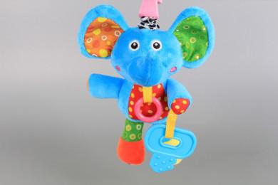 Плюшено слонче с щипка-дрънкалка за количка
