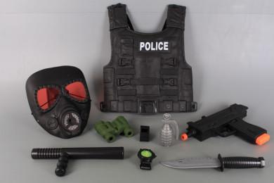 Полицейски комплект с пистолет, бронежилетка и противогаз