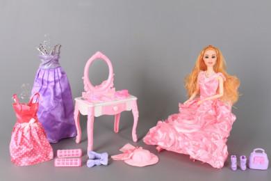 К-т Кукла с чупещи се стави, тоалетка и аксесоари
