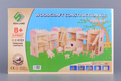 Дървен 3D пъзел - замък с мебели