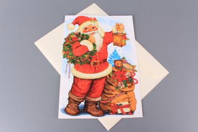 Картичка Дядо Коледа с чувал