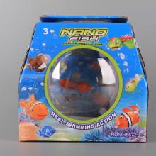 Аквариум с плуваща светеща рибка
