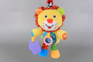 Плюшено лъвче с щипка-дрънкалка за количка