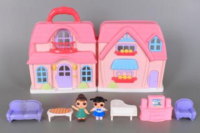 К-т Къща за кукли с обзавеждане и две кукли
