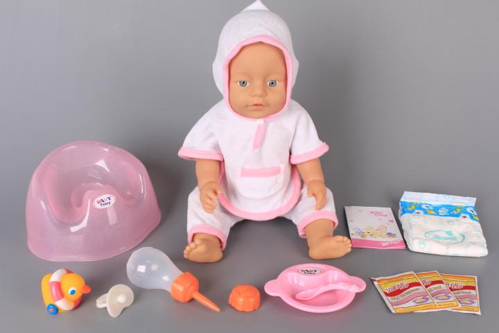 Бебе пишкащо с памперс, гърне и аксесоари