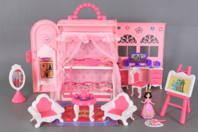 Чанта-къща за кукли с обзавеждане и кукла