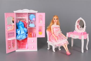 К-т Кукла с чупещи се стави, гардероб, тоалетка и аксесоари