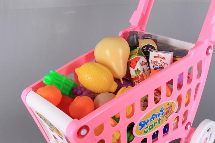 Количка за пазаруване с продукти-музикална