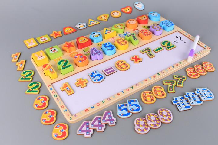 Дървена дъска за писане и рисуване с цифри и формички